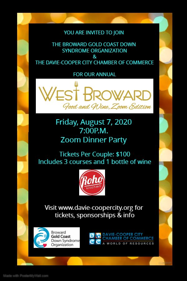 Save The Date:  West Broward Food and Wine Zoom Dinner Party – August 7th