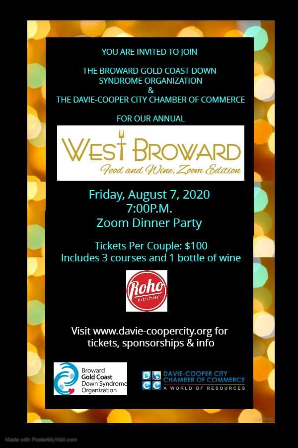 West Broward Food and Wine-Zoom Edition Aug 7th